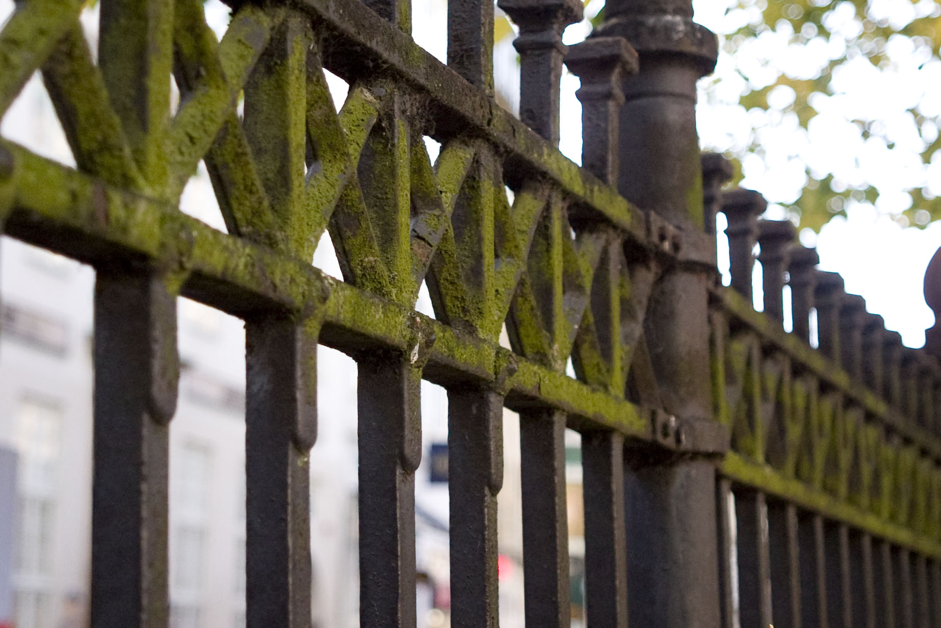 Fence rail at a Copenhagen churchyard. October 2008.