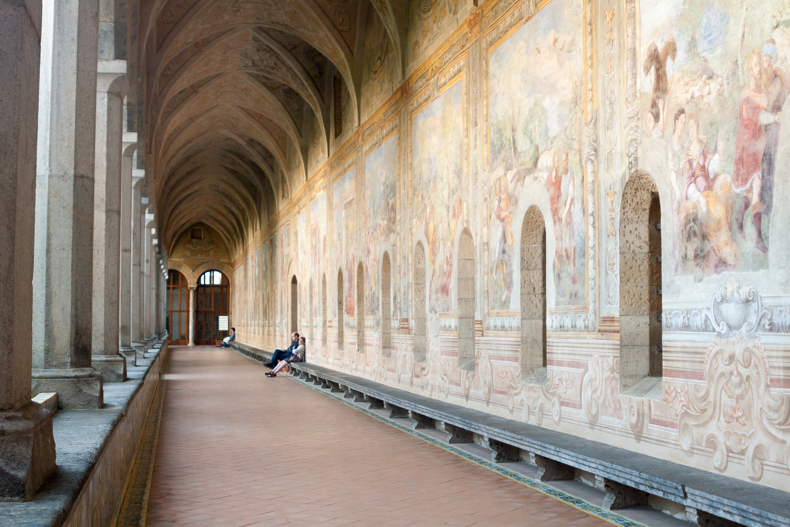 Cloister at the Church of Santa Chiara in Naples, Italy. May 2015.